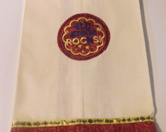 4th Grade Rocks Embroidered Kitchen Towel; Teacher Gift; Kitchen Towel,4th Grade,Teacher love