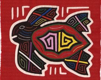 Superb Sea Turtle Mola - Museum Quality Hand Sewn Kuna Indian Applique