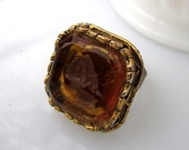 Amber Intaglio Ring - 1960's vintage carved intaglio glass on adjustable ring - Free Shipping to USA