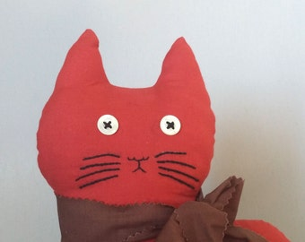 Vintage Cat Pillow FREE SHIPPING Red with brown tie