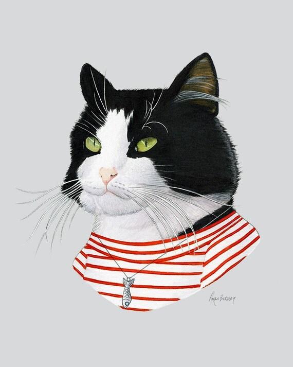 Tuxedo cat art print modern kid art pet by berkleyillustration for Modern cat accessories