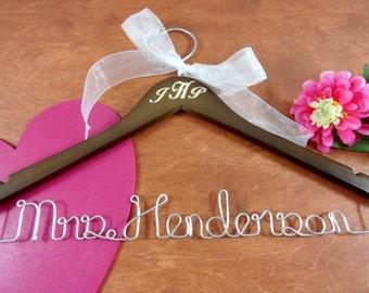 Engraved Wedding Hanger Monogrammed Brown Wood Silver Aluminum Wire Bridal Hanger Wedding Photo Props