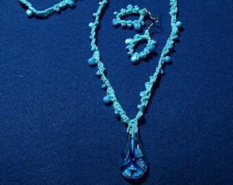 Flower Pendant Beaded Crochet Necklace with Earrings - Aqua Blue - Long 31 Inch Boho Pendant Necklace - Handmade Jewelry