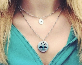 Custom Photo + Initial Layered Necklace Set - Silver