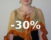 JANUARY SALE Yellow and Orange Wavy Short Nuno Felted Poncho Capelet Summer Poncho with Flower Closure