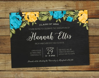 Graduation party invitation, blue and gold graduation party invitation or open house invitation