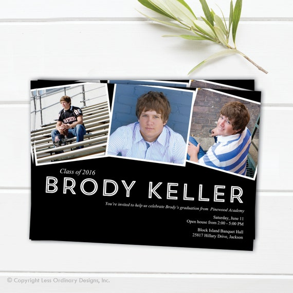 Photo collage graduation announcement