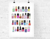30 Nail Polishes Fashion Illustration Art Print