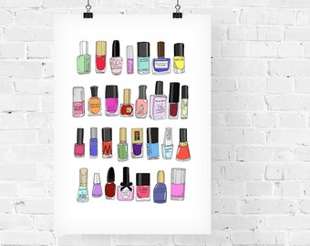30 Nail Polishes Fashion Illustration Art Print