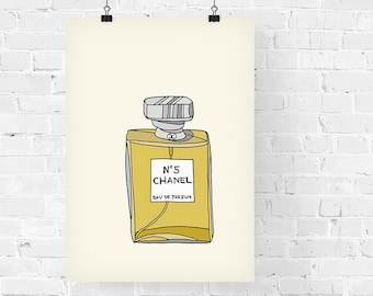 Chanel N.5 Perfume Fashion Illustration Art Print