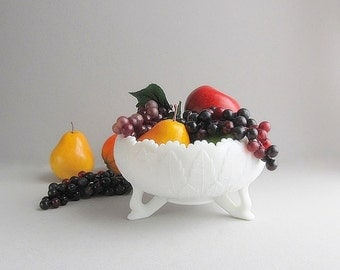 Large Milk Glass Bowl, Footed Bowl, Fruit Bowl, Wedding Table Centerpiece