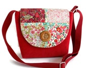 Liberty of London Patchwork Satchel - Crossbody Bag - Adjustable Strap - Cherry Red Corduroy