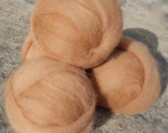 Alpaca Rovings Baby Soft Natural Fawn for Spinning or Felting Doll Hair One Ounce Ball Handmade