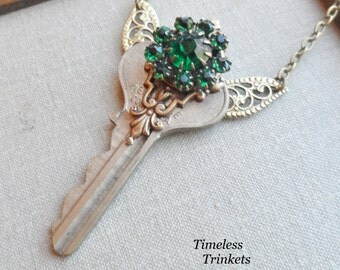 1/2 Price Sale! Steampunk Key Necklace with Antique Glass Button - Emerald Isle Fairy by Timeless Trinkets- Sale