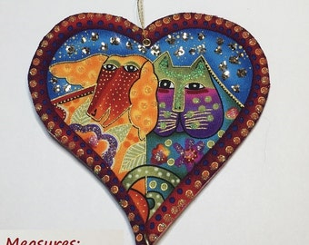 Laurel Burch Ornament Orange PUP and Green Lavender CAT pretty flowers w much Bling and Glam - Home or Holiday Decor Accent handcrafter 0133