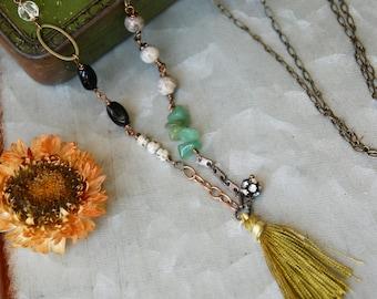 Long beaded tassel necklace / gemstone necklace / long bohemian necklace. Tiedupmemories