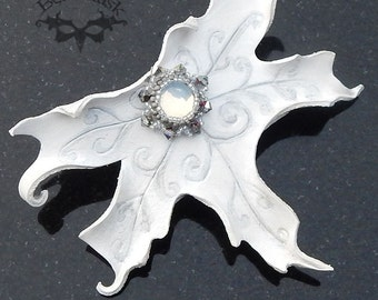 Winter Faerie Maple Leaf Barrette with Swarovski and Glass Moonstone Beadwork