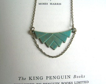 Elegant Verdi Gris Deco necklace - brass pendant with green blue patina - geometric