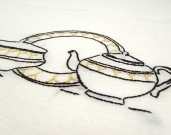 Vintage Embroidered Linen - Kitchen Dishes - embroidery panel - quilt panel - China Plates Teapot