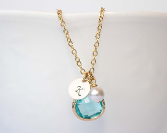 Personalized March Birthstone Aquamarine Gold Necklace, Aquamarine Necklace, March Birthday Jewelry, Personalized Gold Necklace #877