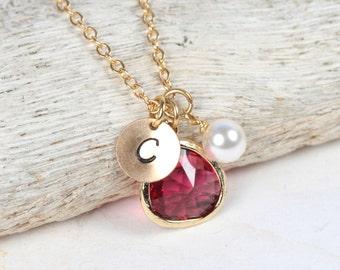 January/July Birthstone Gold Necklace, January Birthday Jewelry, July Birthday Jewelry, Personalized Gold Necklace #877