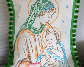 Vintage Cushion Cover Virgin Mary Irish Linen Handmade