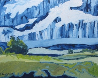 """Art Original Landscape Oil Painting Eastern Townships Impressionist Abstract Appalachian Sky cloud Rain Quebec Canada Fournier """" Pouring Sky"""