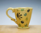 Buttercup Deluxe Clover cup w. Blue Polka dots Floral, Victorian mod