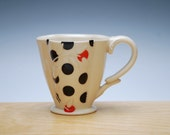 Ivory Deluxe Clover cup w. Black & Red Polka dots, Victorian mod
