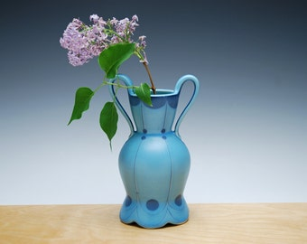 Bud vase in Aqua w. Navy polka dots & detail, Victorian modern Home decor