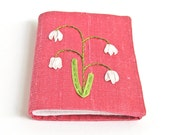 Snowdrops needle keeper, pink silk needle book, silk ribbon embroidery needle minder, embroiderer's gift