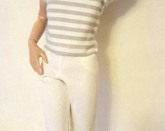 """Gray stripe T shirt PANTS set for 17"""" Tonner Matt O'Neill Edward Cullen Harry Potter DOLL"""