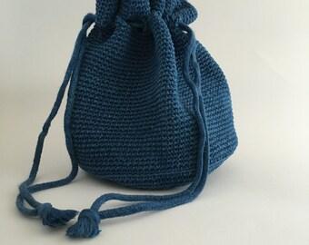 Indigo Hand Dyed Crocheted Drawstring Purse