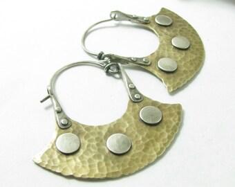 Modern Tribal Hoop Earrings, Riveted Earrings, Mixed Metal Earring Bronze And Silver Hoops, Bronze Earrings, Tribal Earrings, Large Earrings