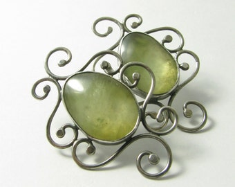 Prehnite Earrings, Green Gemstone Earrings, Large Sterling Silver Statement Earrings, OOAK Metalsmith Earrings Exotic One Of A Kind Earrings