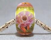Green & Pink Handmade SRA Lampwork Glass Butterfly Big Hole Bead Pink Flower Garden III
