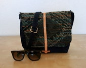 Blue Wax Canvas Messenger Bag with Aztec Fabric