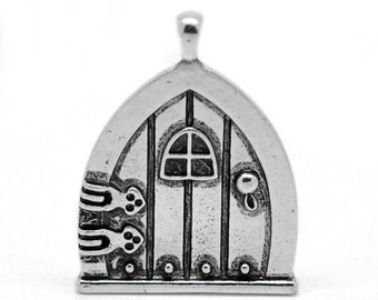 Hobbit door Large Door Pendant gnome Fairy Door house  antique silver Pendant  (DRW400) quantity one