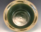 Pottery Serving Bowl/Green Pottery Serving Bowl/Medium Sized Serving Bowl