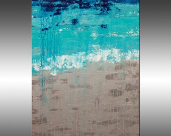 Lithospere 135 - Painting, Original Abstract Painting, Contemporary Wall Art, Acrylic Canvas Wall Art, Modern Paintings, Silver, Blue, Teal