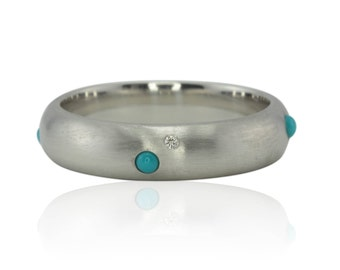 Men's Wedding Band with Bezel set Turquoise and Diamonds in Brushed 14k White Gold - LS4518