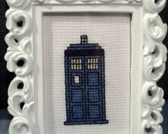 Framed TARDIS Art, Cross Stitch, Dr Who, Doctor Who, Phone Booth,