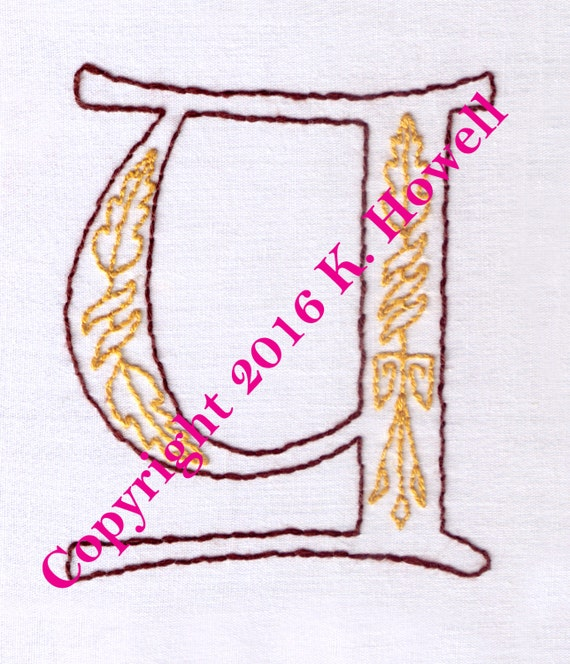 Y hand embroidery pattern medieval letter monogram font