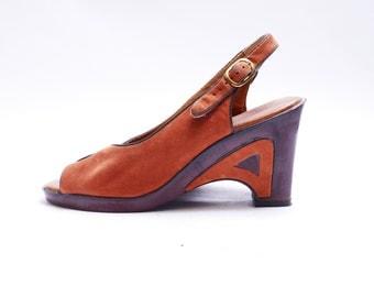 Vintage Rust Slingback Sandals // Peep Toe Women's Sandals// Summer Shoes//  8B size
