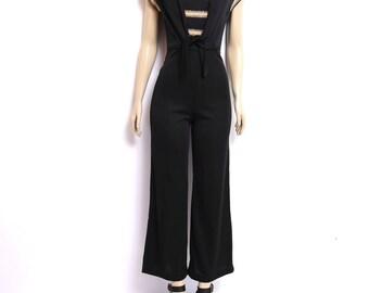 Vintage 70s Black Jumpsuit Tie Waist Metallic Stripe Top 70s Disco Jumpsuit xs s 25 waist