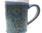 Slate Blue and White Floral Textured Handmade Ceramic Pottery Coffee Mug