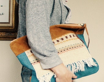 NEW// XL Oxford Single///Vintage Hand Loomed Textile, 80's Denim, and Mixed Leather ///Fold Over Clutch/// Pouch