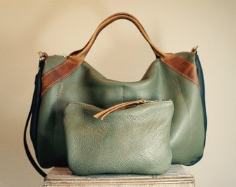 NEW///Oxford Duffle Set in Sage Green and Navy Blue Leather with Horween Leather Handles and Clip On Messenger