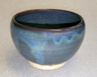 Blue Tea Bowl  - Wheel Thrown Pottery - Chawan