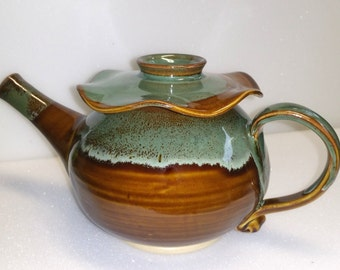 Pottery Teapot - Amber and Green - Wheel Thrown Stoneware